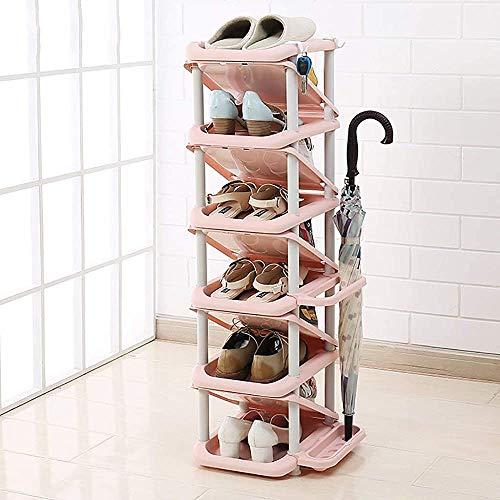 Unifamiliar del zapato de zapatos de plástico, la estantería de almacenamiento de múltiples capas del zapato,Pink