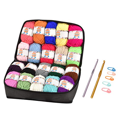 OIZEN Hand Knitting Yarn Häkelgarn 20er Pack, 50 Meter(30g) pro Rolle, Bunt, Acryl Wolle Set mit 2 Häkelnadeln, Nadelstärke 4,0-5,0, Handstrickgarn Baumwollgarn für Häkeln und Kunsthandwerk