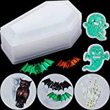 6 Pieces Halloween Resin Molds Include Coffin Box Molds and Bat Silicone Molds, Owl Casting Molds, Skull Hands, Ghost Shape Resin Mold Keychain Mold Set for DIY Craft