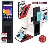 reboon Hülle für Alcatel Idol 5S Tasche Cover Case Bumper | Rot Leder | Testsieger