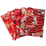 JANOU 5pcs Red DIY Craft Cotton Fabric Koi Fish Print Handmade Textiles Bundle Squares Quilting Lint for Sewing Bags Bedding Patchwork 25x20cm