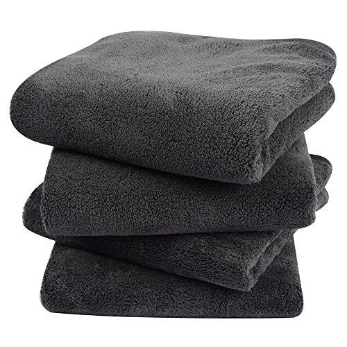 KinHwa 4er Pack Microfaser Handtücher, Stark Wasserabsorbierendes Mikrofaser Handtuch, Mikrofaser Badetuch, Super Weich Duschtücher, Schnelltrocknend & Saugstark, 40cm x 76cm, Dunkelgrau
