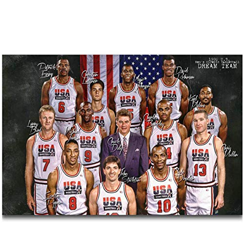 XiaoHeJD 1992 USA Dream Team Magic Johnson Basketball Player Wall Art Canvas Painting Poster Home Decoration -50x75cm No Frame