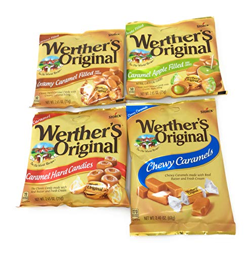 Werthers Bundle (4 Items) Variety Pack (Original Hard Candies/Chewy Caramels/Creamy Caramel Filled/Caramel Apple Filled)