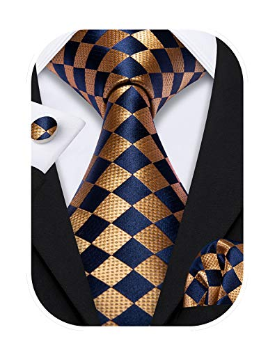 Barry.Wang Plaid Ties Check Mens Necktie Set with Handkerchief Cufflinks Classic (Orange Black 1563)