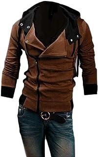 Mens Oblique Zipper Hoodie Casual Top Coat Long Sleeve Sweatshirt