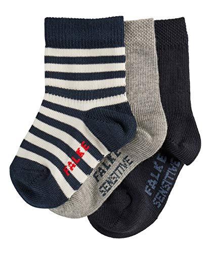 FALKE Baby Socken 3er Set Baby - 94% Baumwolle, 3 Paar, Blau (Navy Blue/Grey 10), Größe: 74-80