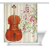 Cortina de baño Funny A Cello Instrument with Colorful Music Notes Waterproof Shower Curtain Decor, Fabric Bathroom Set with Hooks, 66(Wide) x 72(Height) Inches