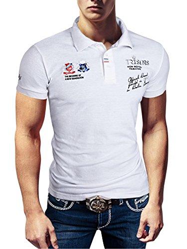 Polo New Poloshirt T-Shirt Shirt Hemd Party Slim Herren Kurzarm Pique Wow, Farbe:Weiß, Größe:XL