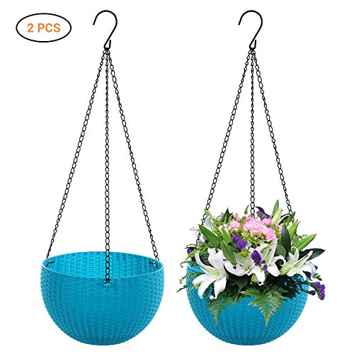 Kylewo 2er Set Blumentopf Hanging Sphere, Plastik Rund Blumenampeln Hängeampeln Hängepflanztopf für Balkon Hanging Hängeampel Pflanzkorb Sphere Blumenampel