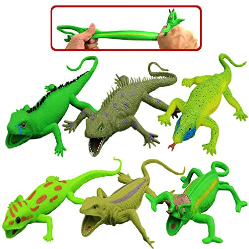 Lizards Toys,9-inch Rubber Lizard Set(6 PACKS),Food Grade Material TPR Super Stretchy,With Learning Study Card Gift Bag-Realistic Lizard Figure Bathtub Squishy Toy-Gecko Iguana Chameleon