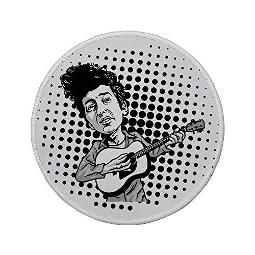 Rutschfreies Gummi-rundes Mauspad Bob Dylan-Dekor Musiker im Pop-Art-Cartoon-Stil der Gitarre spielt Volksmusik Sänger Icon Decorative Schwarz-Grau-Weiß 7.9