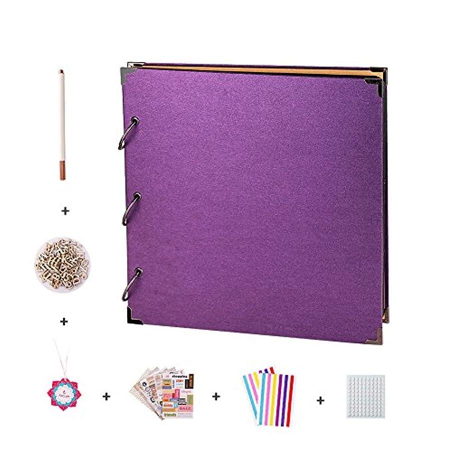 FaCraft Scrapbook Album 11x11 with Scrapbooking Supplies (Purple)