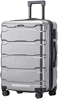 IhDFR Luggage 20 inch Zipper Trolley case Mute Hard Shell Durable Expandable Large Capacity Universal Wheel Scratch-Resistant Travel 24 inch (Color : Silver, Size : 24 inches)