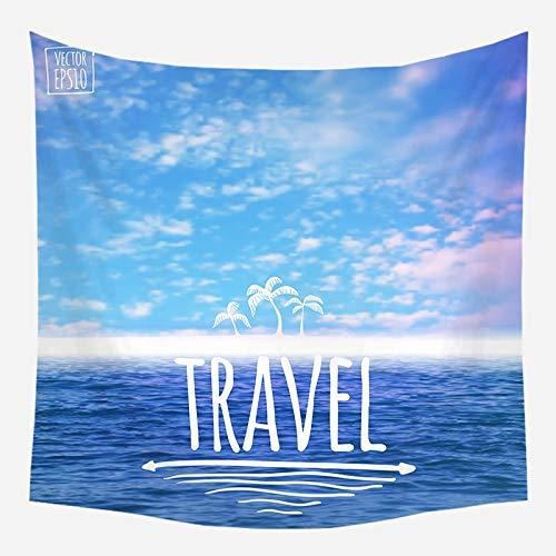 Sol mar tapiz océano playa colgante de pared paisaje de agua decoración de la playa paño de pared nube azul tela de fondo de espuma azul a9 180x200cm