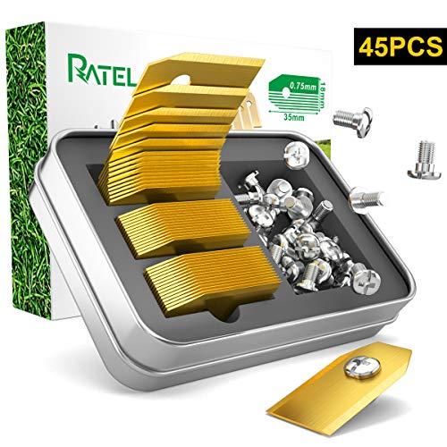 Titan Klingen, RATEL 45Pcs Husqvarna Automower Messer Titan Ersatzklingen aus mit Anti-Rost-Titanbeschichtung und Schrauben, passen für 105, 310, 315, 320, 420, 430x, r40i uvm
