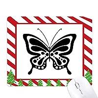 単純な漫画の黒蝶 ゴムクリスマスキャンディマウスパッド
