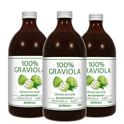 3 x 100% GRAVIOLA Direkt-Saft -unfiltriert & vegan- (3 x 500ml), aus 100% Graviola Püree. Stachelannone, Soursop, Corossol, Guanabana.