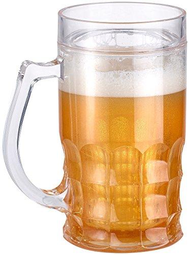 Rosenstein & Söhne Fake Bierglas: Doppelwandiger Bierkrug, Bier- & Getränke-Kühler mit Fake-Bier, 0,3 l (Doppelwandiges Bierglas)