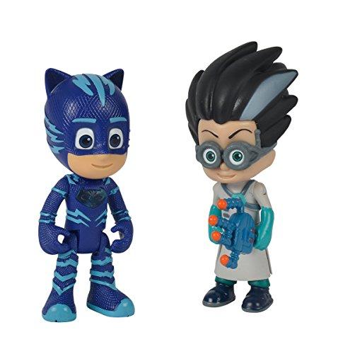Simba – PJ Masks Figurenset Catboy und Romeo / Pyjamaheld und Bösewicht / Catboy mit Licht / Action Figuren / beweglich / 8cm groß, für Kinder ab 3 Jahren