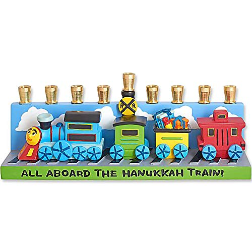 Aviv Judaica Hanukkah Train Menorah Design - All Aboard The Hanukkah Train Menora for Kids & Train Lovers - Ceramic