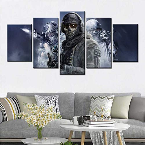 5 pieces canvas printing decorative paintings Call Duty Modern Warfare soldier weapon games Wall Art Canvas Painting posters and prints for living room Home Decor(No Frame)-40x60x2 40x80x2 40x100cm