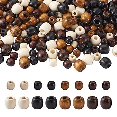 Cheriswelry 240 cuentas de madera de barril de agujero grande, 4 colores, madera natural, columna europea, trenza de pelo para macramé, joyería, manualidades