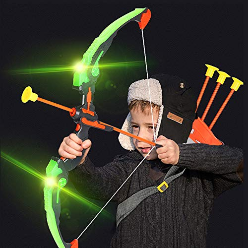 Mecotecn Bow and Arrow Set for Kids, Archery Set with LED Light, 3 Arrows, 1 Bow, 1 Quiver and 1 Target, For Boys & Girls Ages 6-12 Years Old