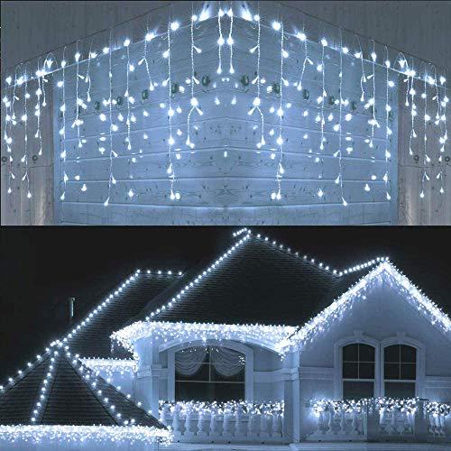 Joomer 300er LED Eisregen Lichterkette Eiszapfen Außen Lichtervorhang Weihnachten Lichter Transparent Kabel Innen Deko für Xmas Garten Party Hochzeit Strombetrieben mit Stecker(19.6ft, Weiß)