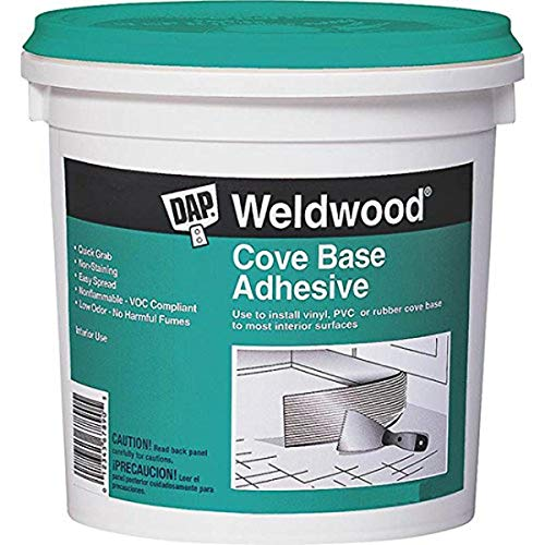 DAP 7079825053 25053 Weldwood Cove Base Adhesive, 1-Quart, White