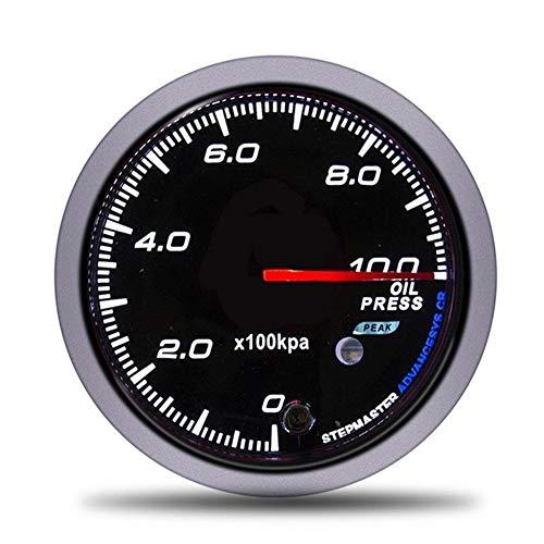 U/D HKRSTSXJ 60mm Car Racing Messgerät Digitalanzeige Turbo Boost Bar Gauge Wassertemperatur Öldruck Tachometer Volt Luft-Kraftstoff-Gauges (Color : Oil Pressure Gauge, Size : Kostenlos)