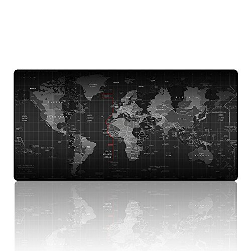 AliBli Large Gaming Mouse Pad XXL & Mouse Pad Black Extended Mat 90x40 (80x40 World map)