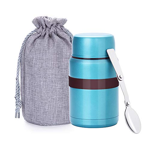 Merysen 500 ml Vacuum Insulated Hot Food Flask, Stainless Steel Food Jar with Folding Spoon Storage Bag, Leakproof Food Container for Kids Adults, Green