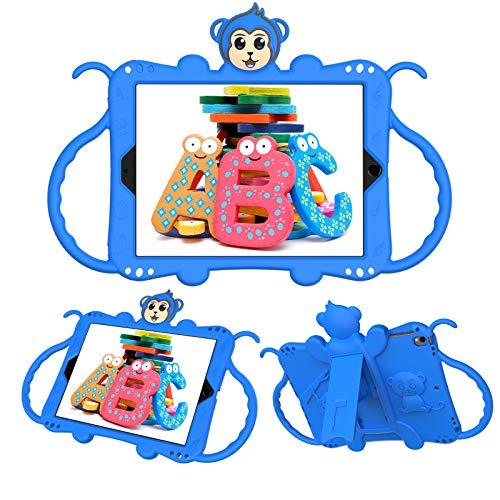 JCTek Protective Kids Case for Suitable for iPad Air/iPad Air 2 Case (9.7'), Cute Cartoon Monkey Shockproof Handle Stand Shoulder Strap Kids Case (blue)