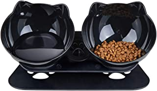 Pantula Cat Bowls - Tilted cat Food Bowls - Raised cat Food Bowl Pet Double 15° Slanted cat Bowls Elevated with Non-Slip R...