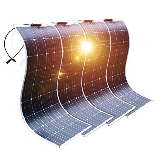 DOKIO Semi-Flexible Solar Panel 4X100W(400W) 12V Lightweight Monocrystalline for Caravan RV Boat Camper