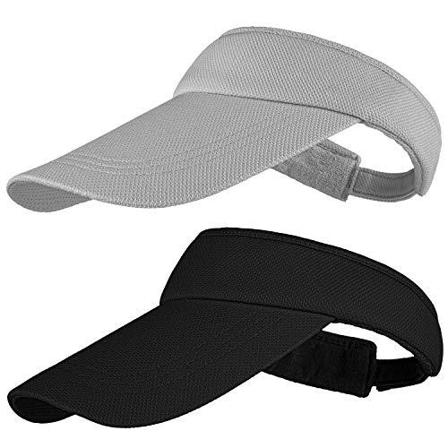 Cooraby Sun Visors Sports Adjustable Sun Visor Hats Long Brim Visors with Sweatband for Girls Women Black, Grey