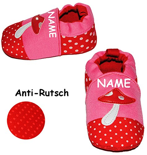 alles-meine.de GmbH Krabbelschuhe / Lauflernschuh -  Pilz  - incl. Name - Größe: 3 bis 9 Monate - Anti Rutsch Sohle - SUPER leicht anzuziehen - 100 % Baumwolle - Babyschuhe - F..