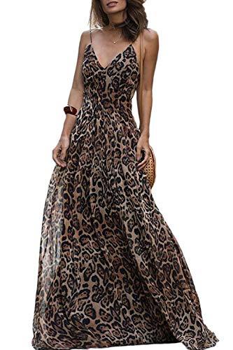 Fasumava Frauen Leopard Kleid Sommer Elegant Chiffon Schlaflos Maxi. Kleider Braun L