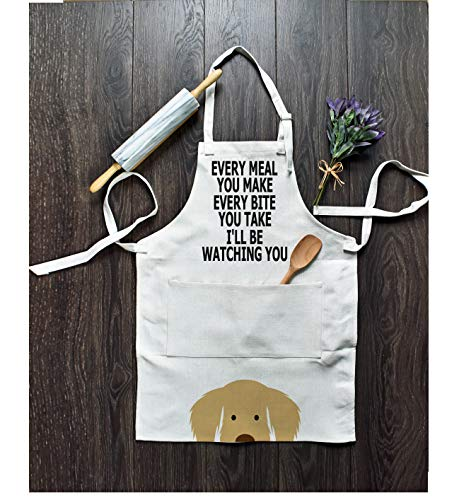 Funny Dog Apron with Pocket for Men and Women Cooking Baking Grilling BBQ Chef Aprons for Home Kitchen