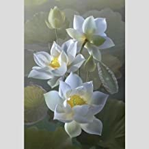 لوحة زيتية عالية الجودة من SANSNMI مصنوعة يدويًا 100% من زهور اللوتس الواقعية عالية الجودة على القماش لديكور المنزل, (40X7...