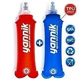 YANNIK 2X Soft Flask Gourde Souple d'eau Flexible 250ml Bleu + Rouge | Bidon d'eau Bouteille Sportive étanche Antibactérien sans BPA | Sport Camping Running Vélo Randonnée