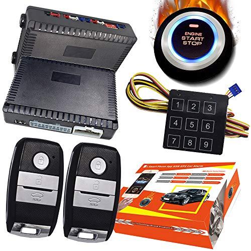 KUNFINE Smart Security Car Alarm Passive Keyless Entry Auto Central Lock Push Button Car Engine Start Stop Compatiable for 1100KI