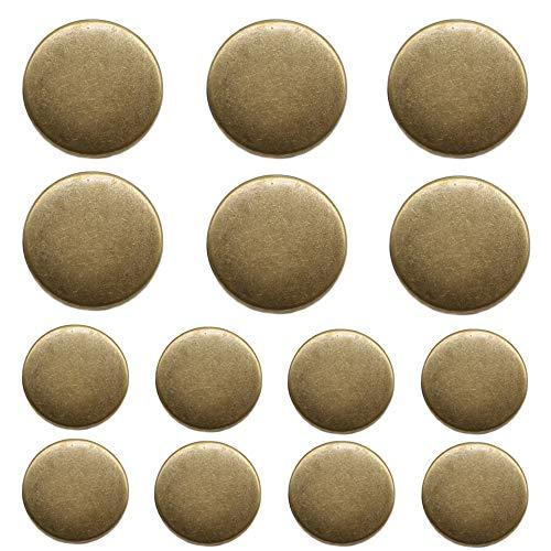ByaHoGa 14 Stück bronzefarbene Kunststoff Knöpfe 20mm 15mm Metallknöpfe für anzüge jacken mäntel uniform (MB20160)