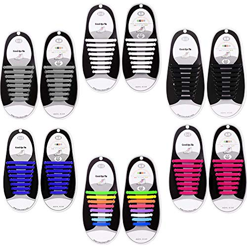 No Tie Shoelaces for Kids and Adults - Best in Sports Shoelaces - Waterproof Silicone Flat Elastic Athletic Running Shoe Laces with Multicolor for Sneaker Boots Board Shoes and Casual Shoes (6park)