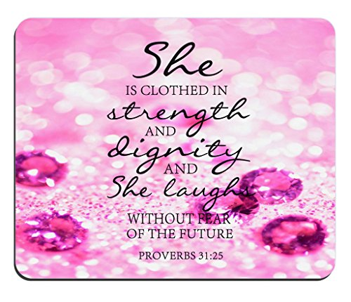 Red Gemstone Glitter Mouse Pad Bible Verse proverbs 31:25 She is Clothed in Strength And Dignity And She Laughs Without Fear of the Future Rectangle Non-Slip Rubber Mouse pad