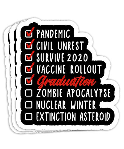 Senior 2021 I Graduation I Senior Class of 2021 I Quarantine Gift Decorations - 4x3 Vinyl Stickers, Laptop Decal, Water Bottle Sticker (Set of 3)