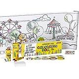 qollorette Pinturas para Niños, Libro Colorear con Lápices de Colores, Ceras de Colores y Pegatinas para Niños Parque de Atracciones – Manualidades Regalos para Niños, 480 x 29cm (16 Feet)