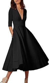 88cf06264f YMING Women s Elegant Cocktail Maxi Dress Deep V Neck 3 4 Sleeve Vintage  Pleated Dress