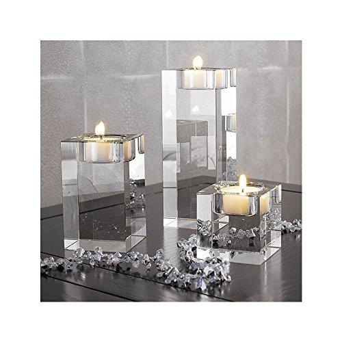 Cosy YcY Kristall-Teelichthalter, Teelichthalter für Tisch, Kerzenhalter-Set für Zuhause/Party/Hochzeit, Einweihungsgeschenk, Höhe von 6 + 8 + 12 cm